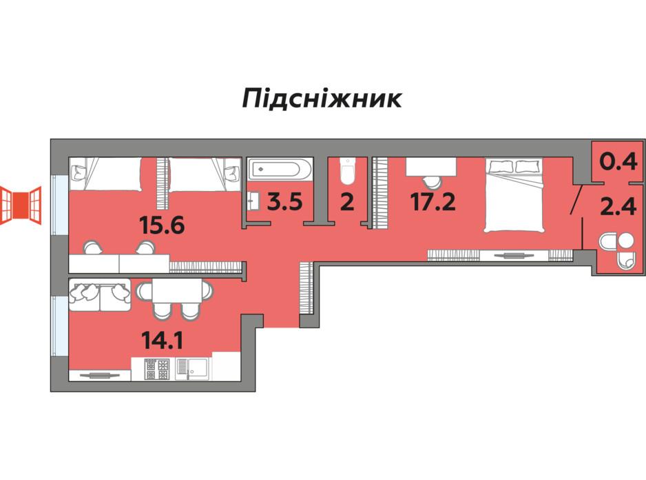 Планування 2-кімнатної квартири в ЖК Яровиця 63.3 м², фото 242007