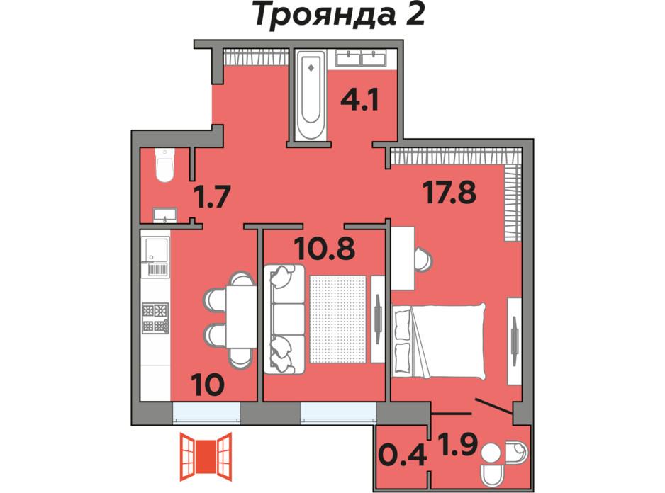 Планировка 2-комнатной квартиры в ЖК Яровица 56.4 м², фото 242012