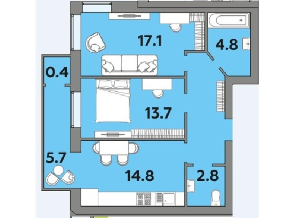 Планировка 2-комнатной квартиры в ЖК Яровица 64.2 м², фото 242015