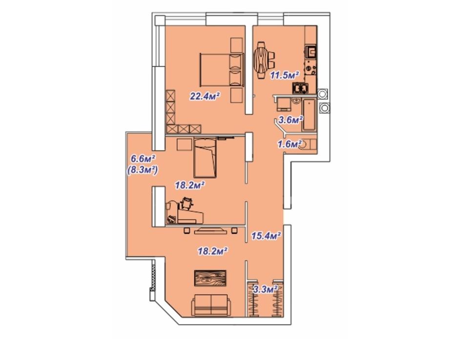 Планировка 3-комнатной квартиры в ЖК Яровица 108.9 м², фото 242059