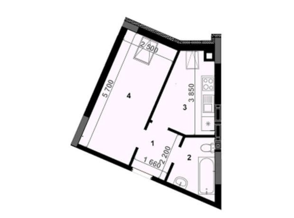Планування 1-кімнатної квартири в ЖК Антрацит 31.5 м², фото 242073