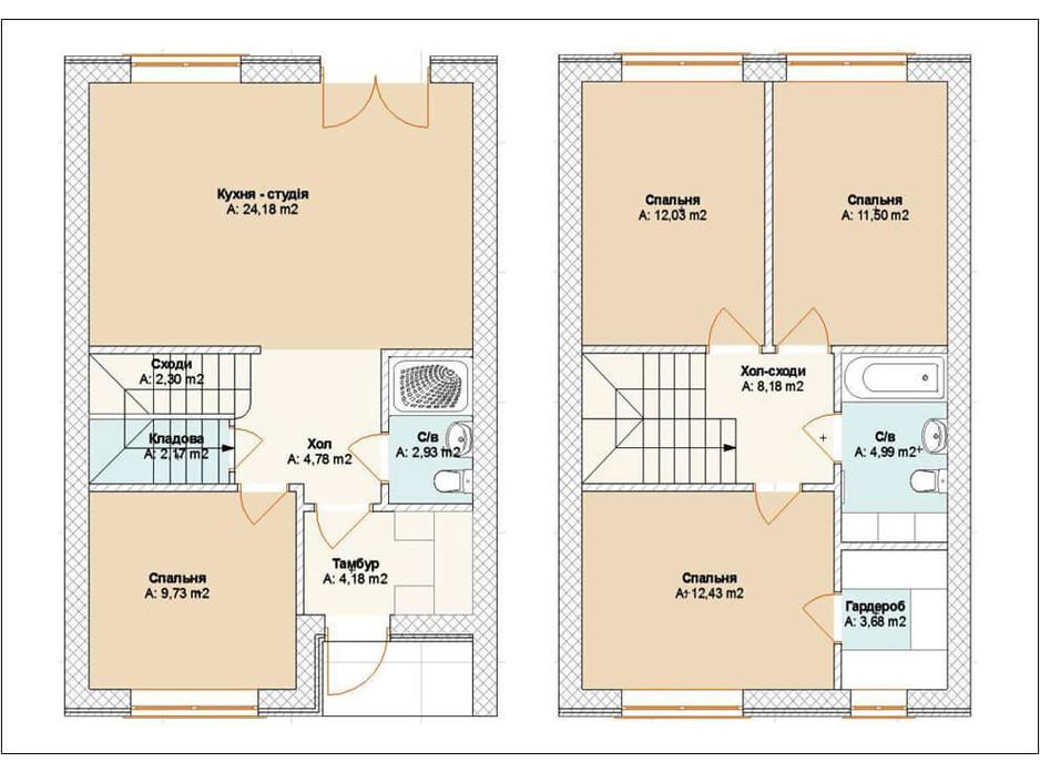 Планування багаторівневої квартири в Таунхаус Brighton Town 105 м², фото 242236
