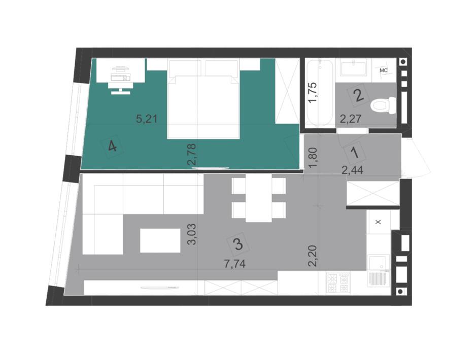 Планировка 1-комнатной квартиры в ЖК Парус City 44.6 м², фото 242271