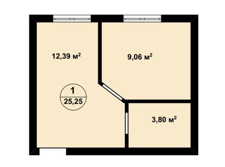 Планування 1-кімнатної квартири в ЖК Aura Center 25.25 м², фото 242325