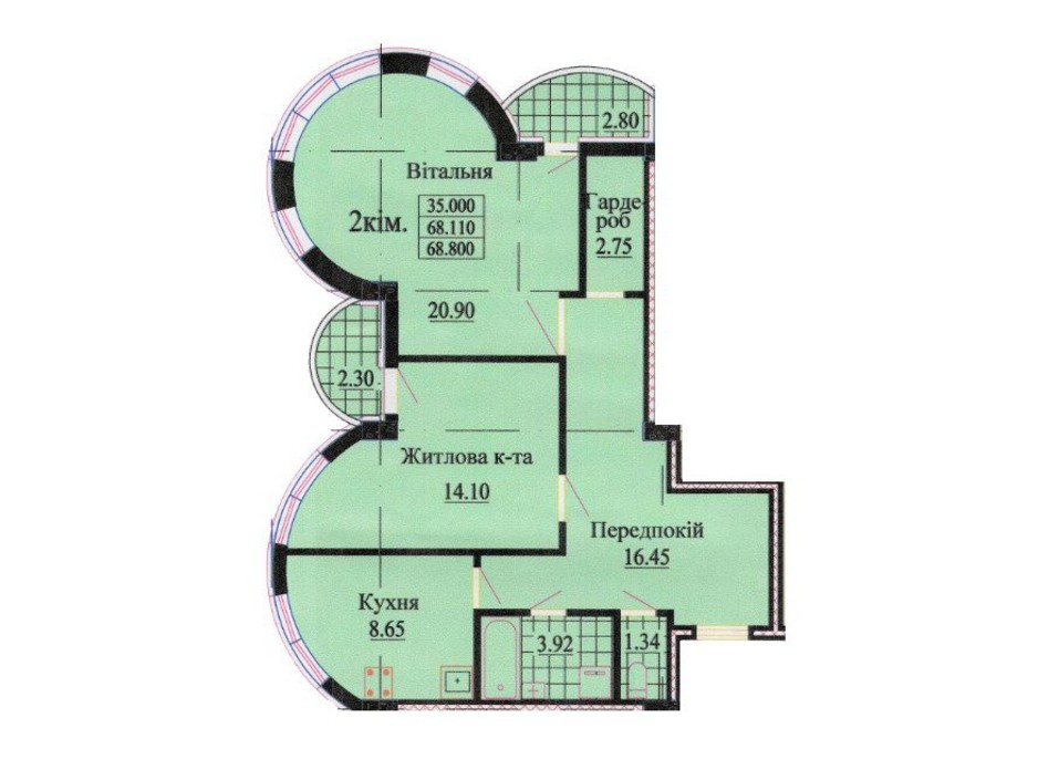 Планировка 2-комнатной квартиры в ЖК ул. Роксоланы, 16 68.1 м², фото 242341