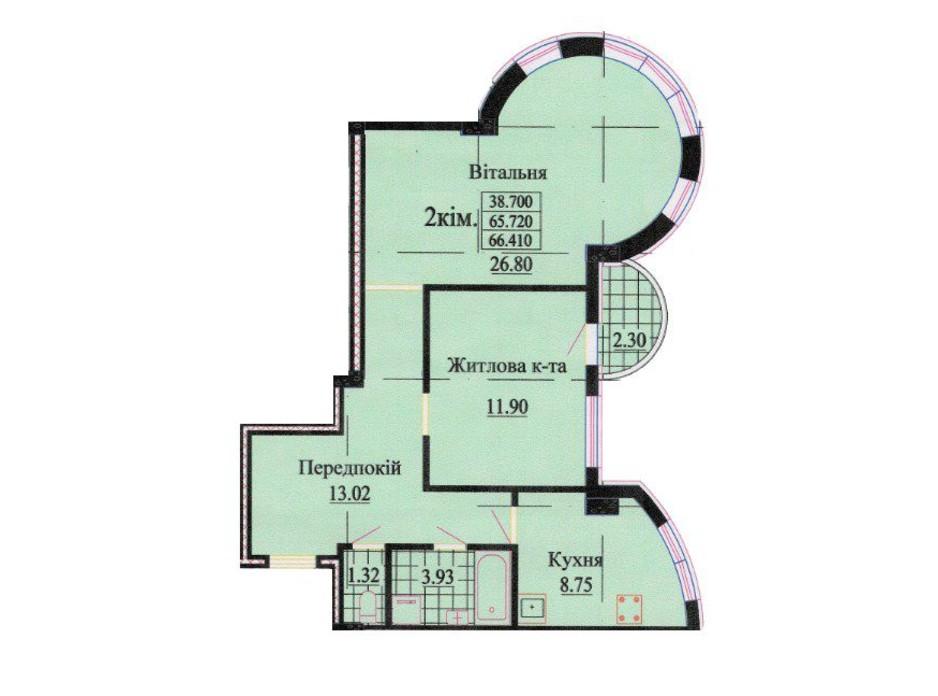 Планировка 2-комнатной квартиры в ЖК ул. Роксоланы, 16 63.6 м², фото 242343