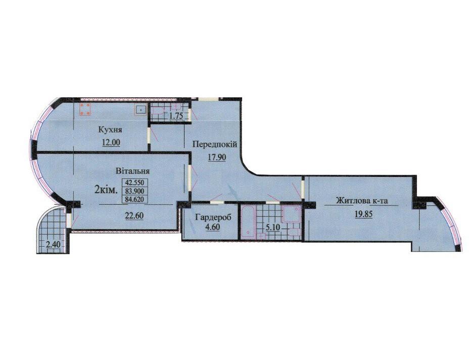 Планировка 2-комнатной квартиры в ЖК ул. Роксоланы, 16 84.9 м², фото 242346