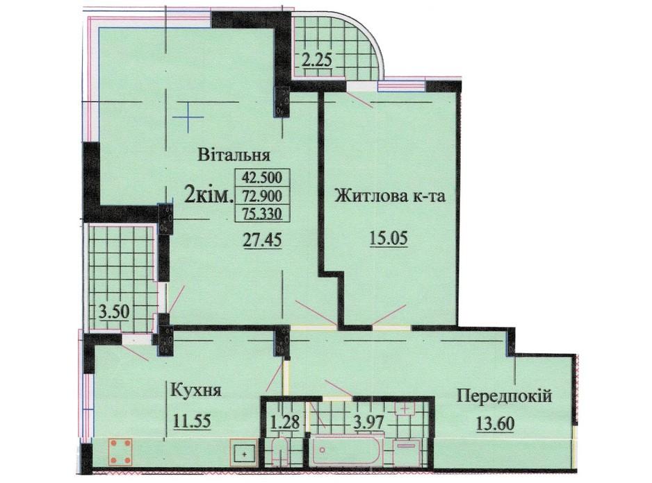 Планировка 2-комнатной квартиры в ЖК ул. Роксоланы, 16 74.5 м², фото 242348