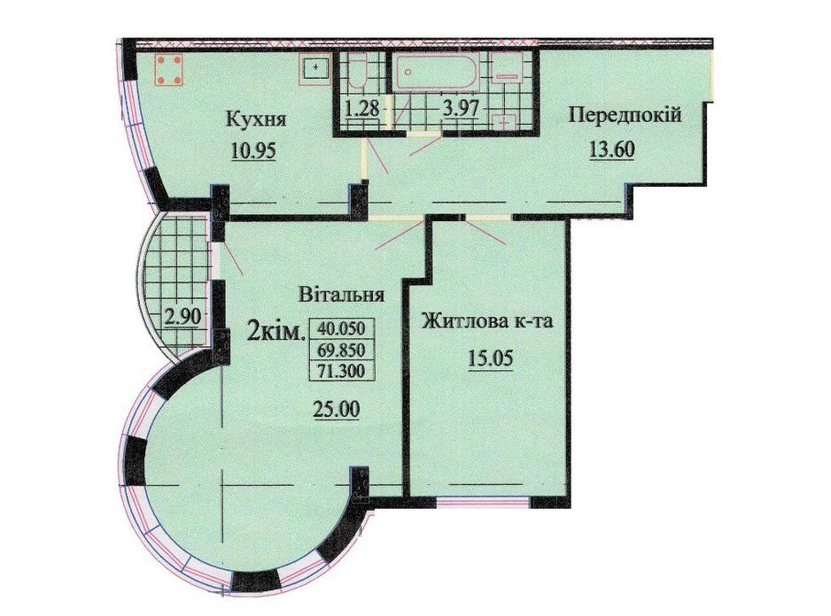 Планировка 2-комнатной квартиры в ЖК ул. Роксоланы, 16 72.3 м², фото 242349