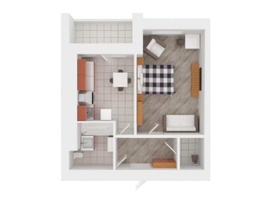 Планування 1-кімнатної квартири в ЖК Сади Вишневі 37 м², фото 242379