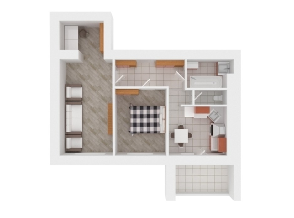 Планування 2-кімнатної квартири в ЖК Сади Вишневі 57 м², фото 242384