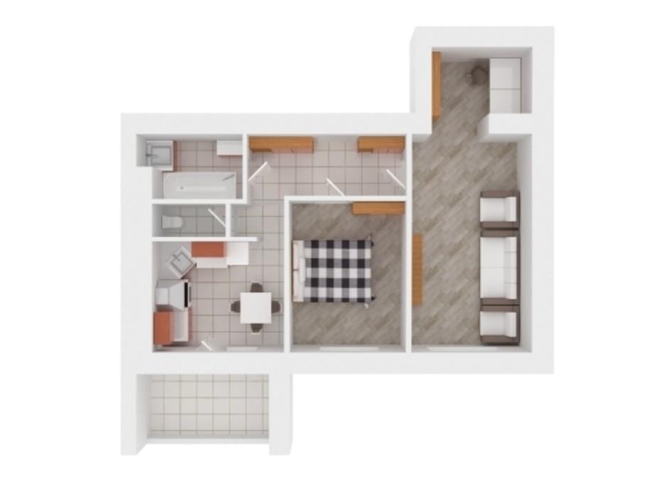 Планування 2-кімнатної квартири в ЖК Сади Вишневі 59 м², фото 242385