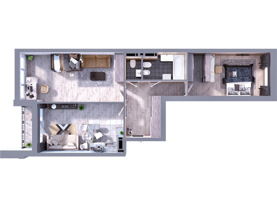 Планування 2-кімнатної квартири в ЖК Greenville на Печерську 81.1 м², фото 242413