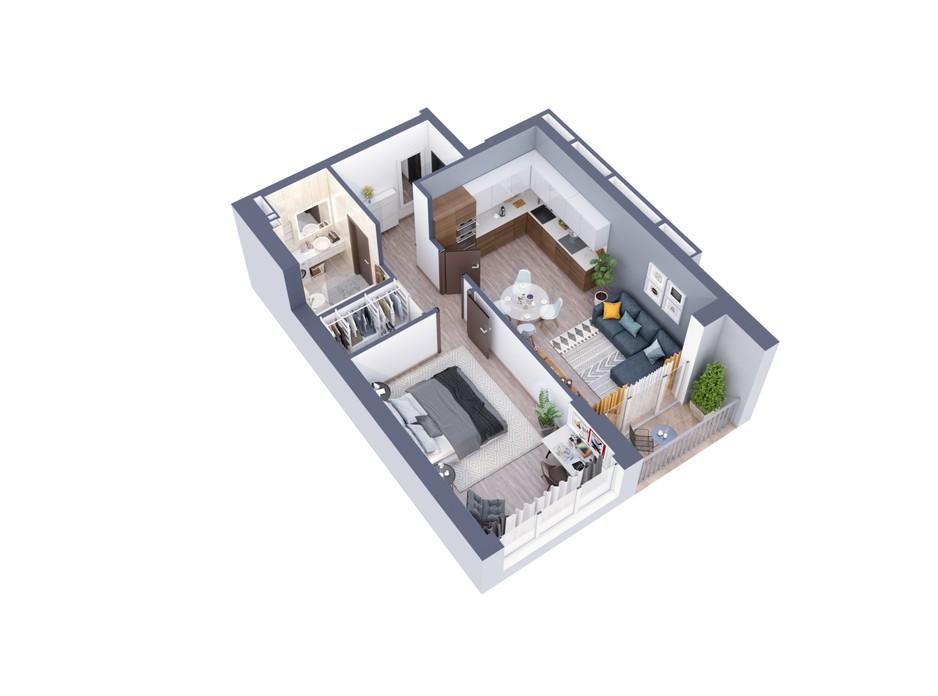 Планировка 1-комнатной квартиры в ЖК Greenville на Печерске 56.2 м², фото 242422