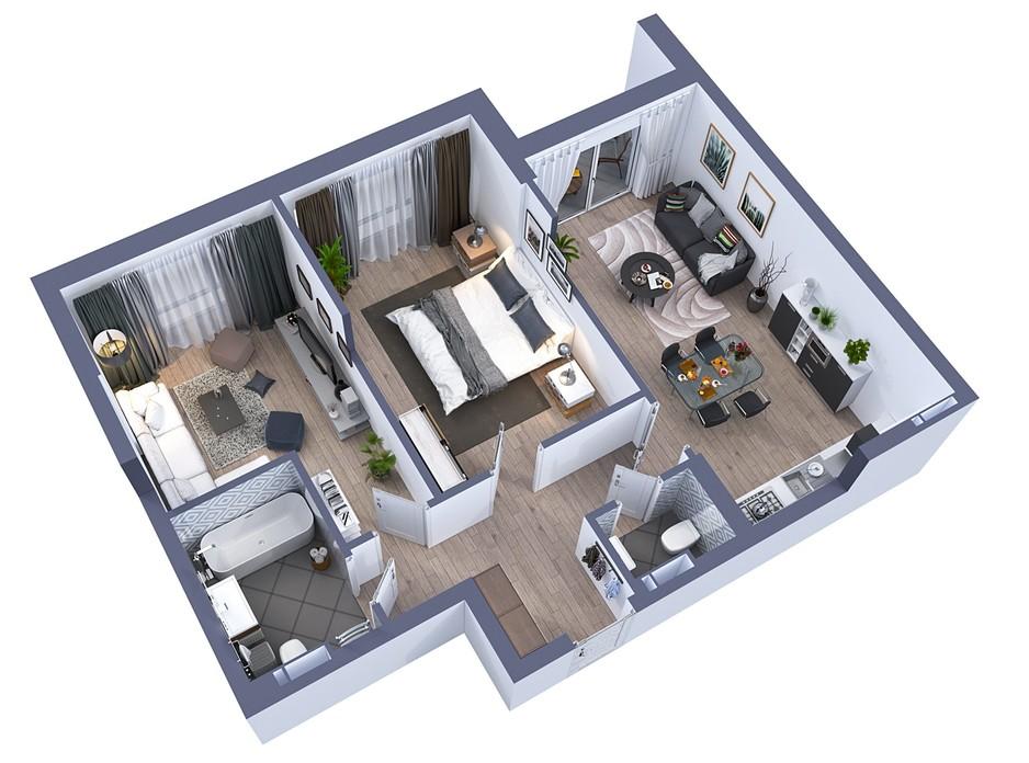 Планування 2-кімнатної квартири в ЖК Greenville на Печерську 70.7 м², фото 242477