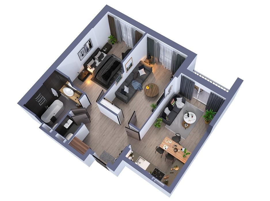 Планування 2-кімнатної квартири в ЖК Greenville на Печерську 69.9 м², фото 242515