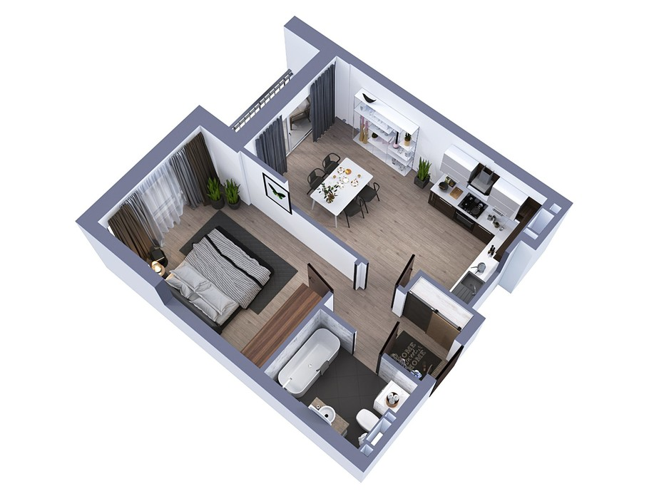 Планування 1-кімнатної квартири в ЖК Greenville на Печерську 47 м², фото 242526