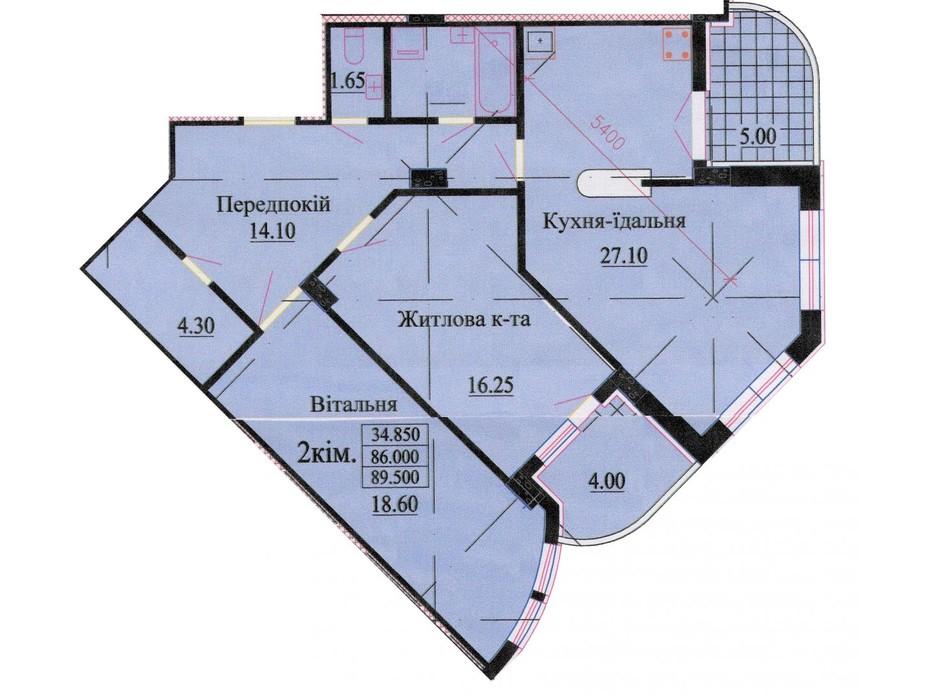 Планировка 3-комнатной квартиры в ЖК ул. Роксоланы, 16 96.3 м², фото 242592