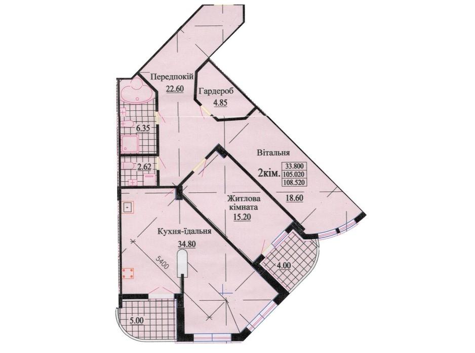 Планировка 3-комнатной квартиры в ЖК ул. Роксоланы, 16 114 м², фото 242598