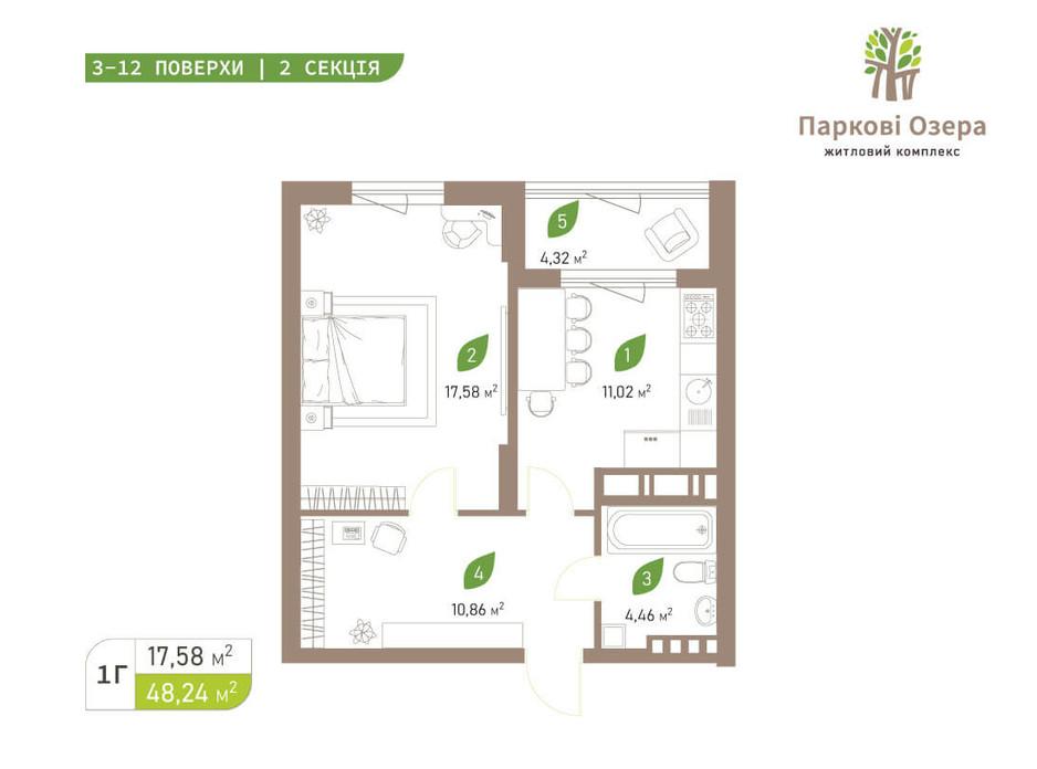 Планування 1-кімнатної квартири в ЖК Паркові Озера 2 48.24 м², фото 242684