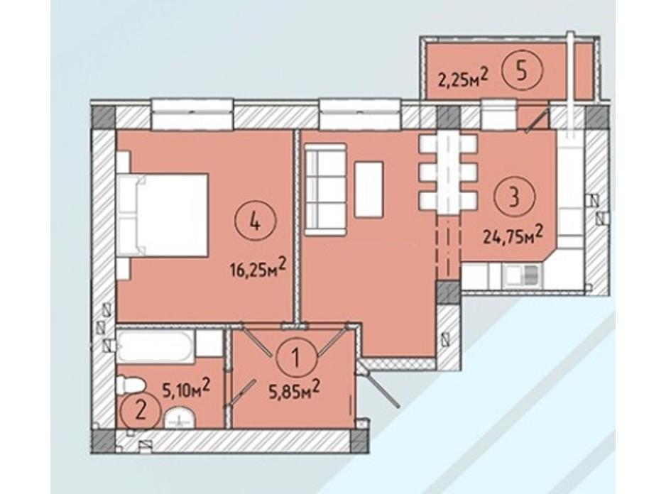 Планировка квартиры студии в ЖК Modern 53.3 м², фото 243223