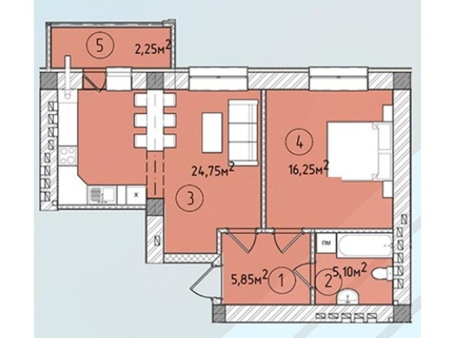 Планировка квартиры студии в ЖК Modern 54.3 м², фото 243224