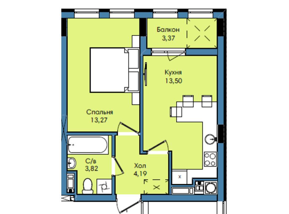 Планування 1-кімнатної квартири в ЖК Washington City 38.15 м², фото 243235