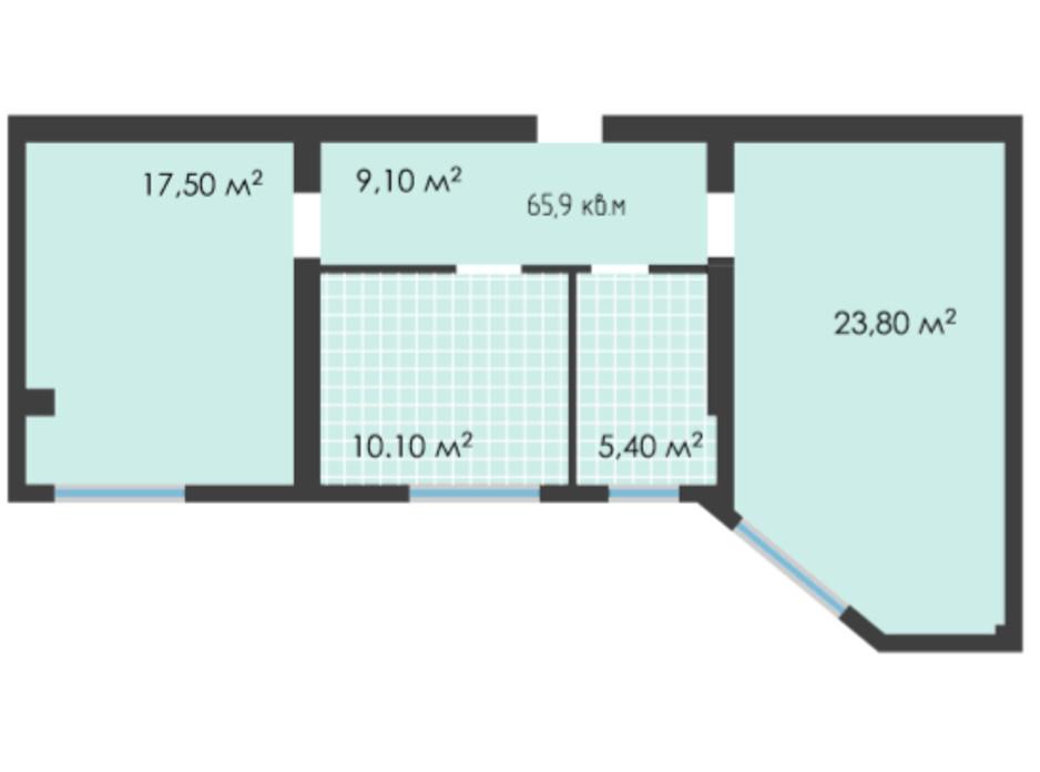Планування 2-кімнатної квартири в ЖК Неосіті 65.9 м², фото 243490