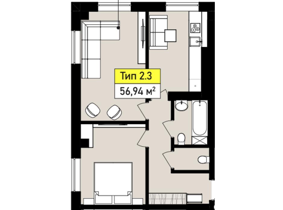 Планування 2-кімнатної квартири в ЖК Urban One Sumskaya 56.94 м², фото 243548