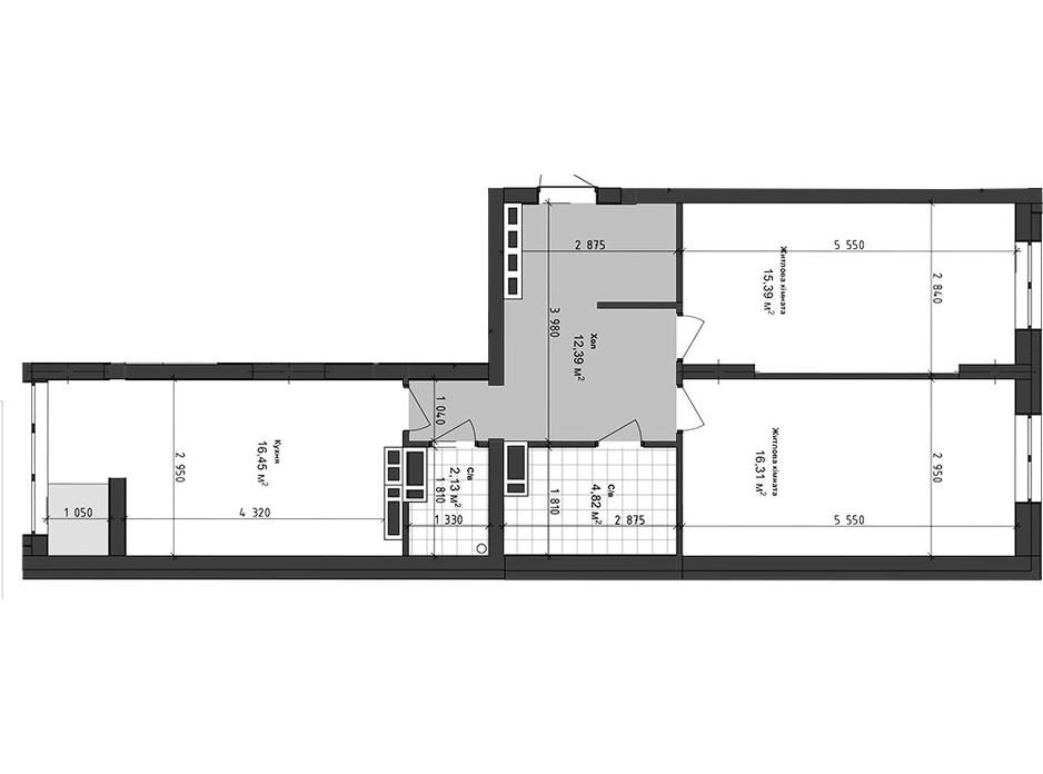 Планування 2-кімнатної квартири в ЖК Sea Town 67.49 м², фото 243577