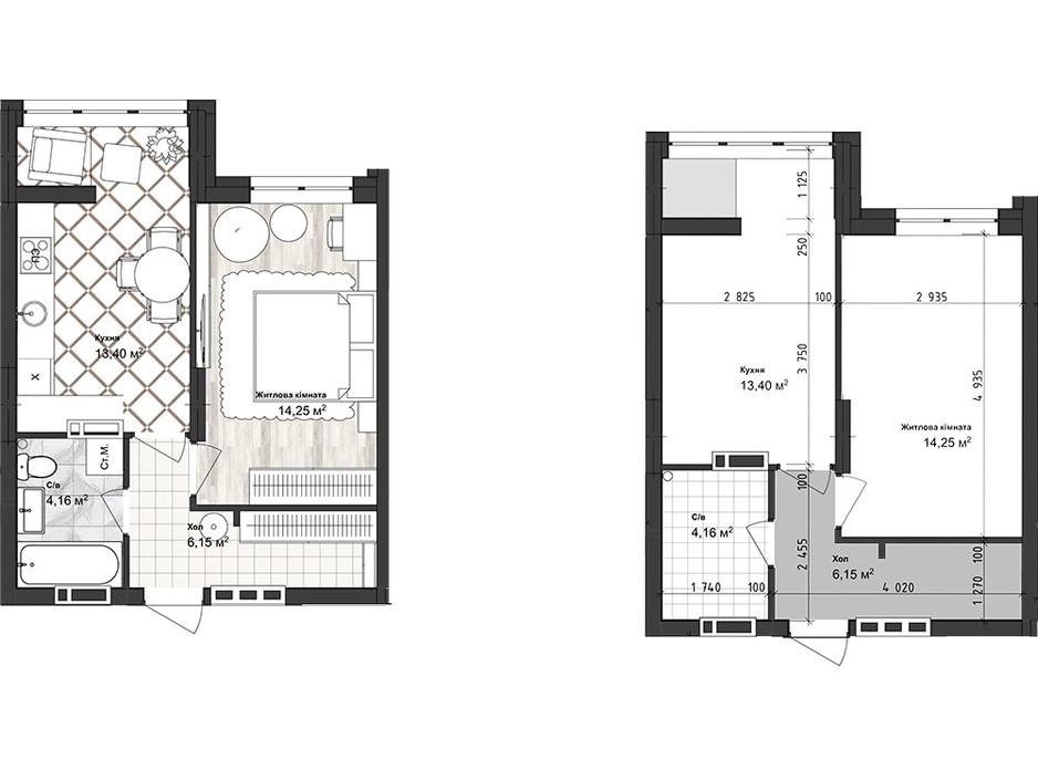 Планировка 1-комнатной квартиры в ЖК Sea Town 37.96 м², фото 243585