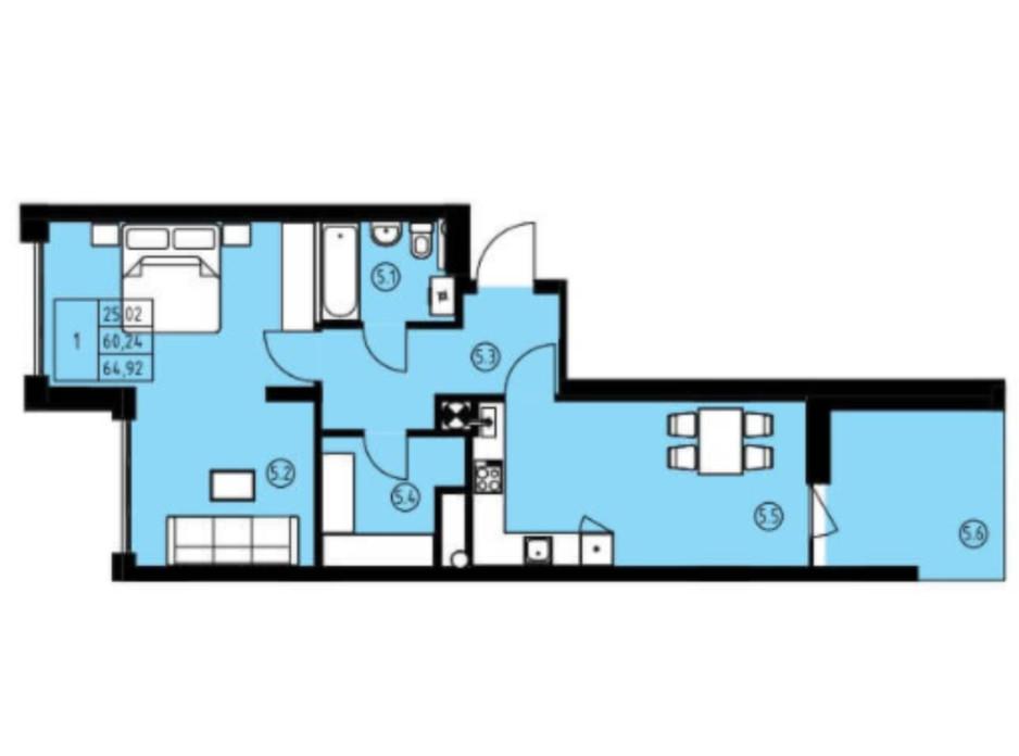 Планування 2-кімнатної квартири в ЖК вул. Навроцького 31 64.92 м², фото 243596