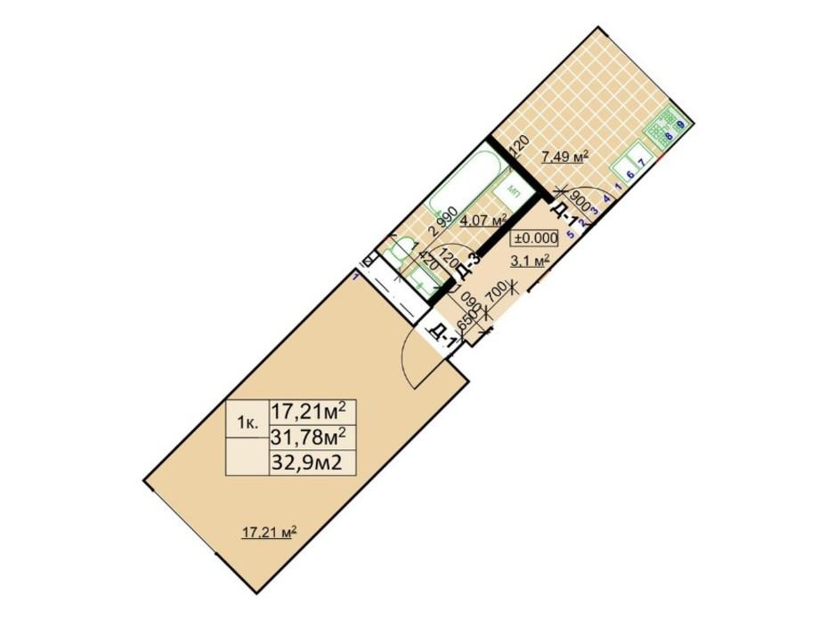 Планування 1-кімнатної квартири в ЖК Столичний 32.9 м², фото 243730