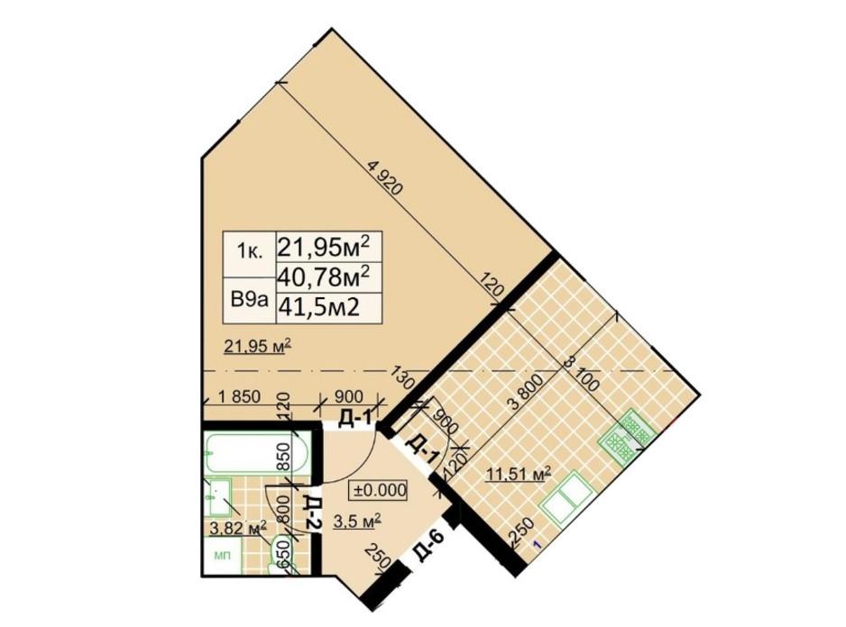 Планування 1-кімнатної квартири в ЖК Столичний 41.5 м², фото 243731