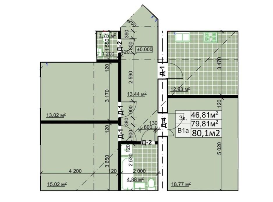 Планування 3-кімнатної квартири в ЖК Столичний 80.6 м², фото 243732