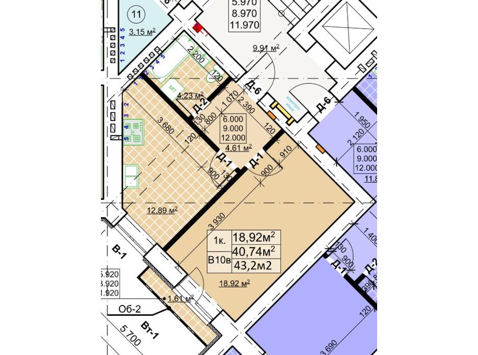 Планування 1-кімнатної квартири в ЖК Столичний 43.2 м², фото 243733