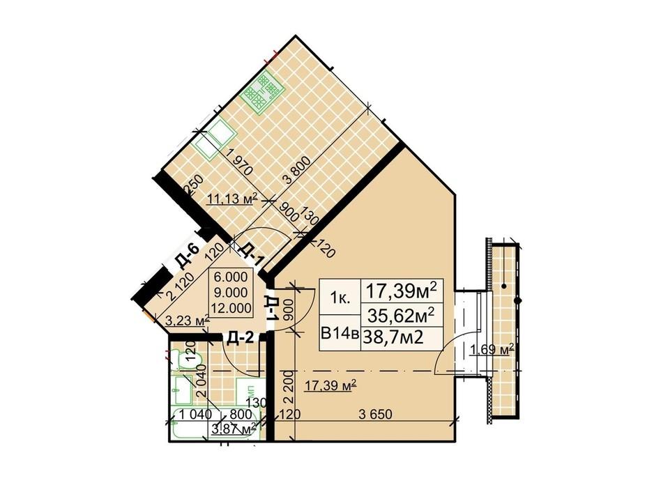Планування 1-кімнатної квартири в ЖК Столичний 38.7 м², фото 243735