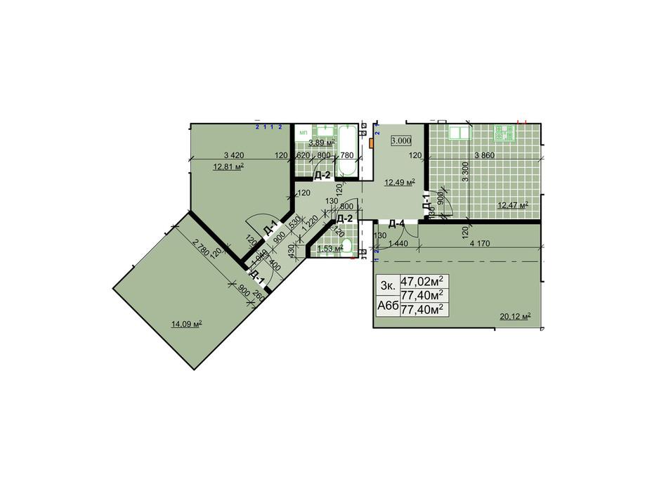 Планування 3-кімнатної квартири в ЖК Столичний 77.4 м², фото 243738