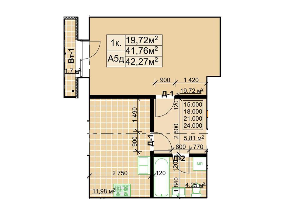 Планування 1-кімнатної квартири в ЖК Столичний 42.27 м², фото 243739