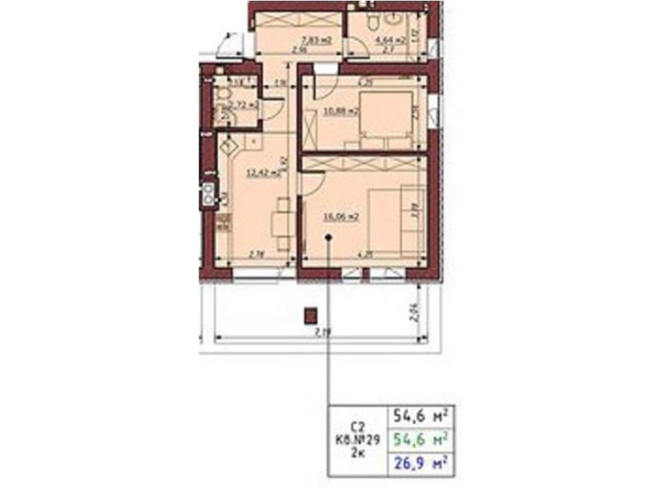 Планировка 2-комнатной квартиры в ЖК Гостомельские Липки 5 54.6 м², фото 243813
