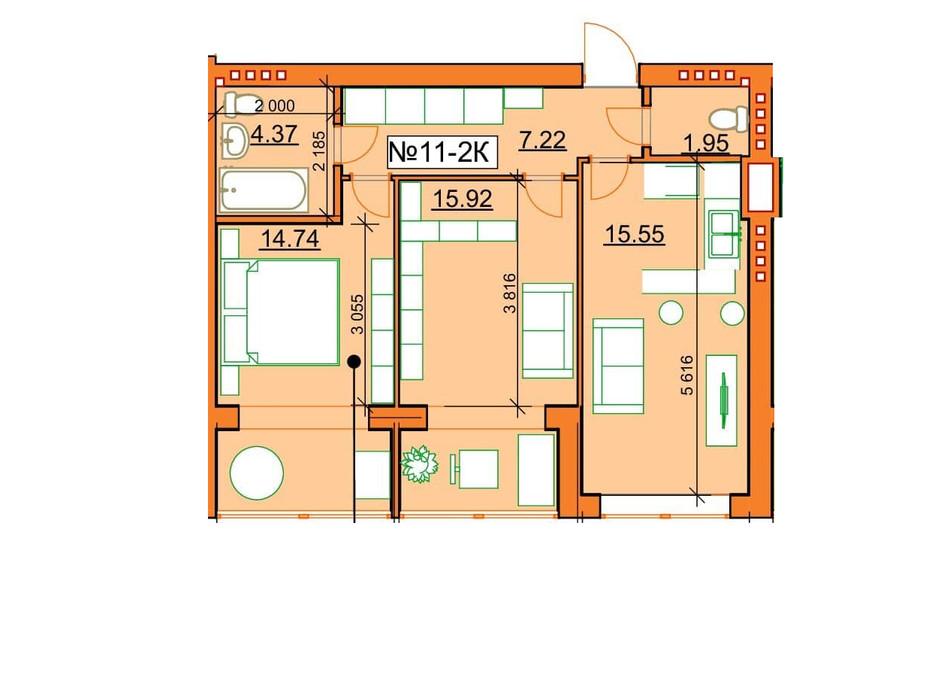 Планування 2-кімнатної квартири в ЖК Гостомельські Липки 5 59.75 м², фото 243847
