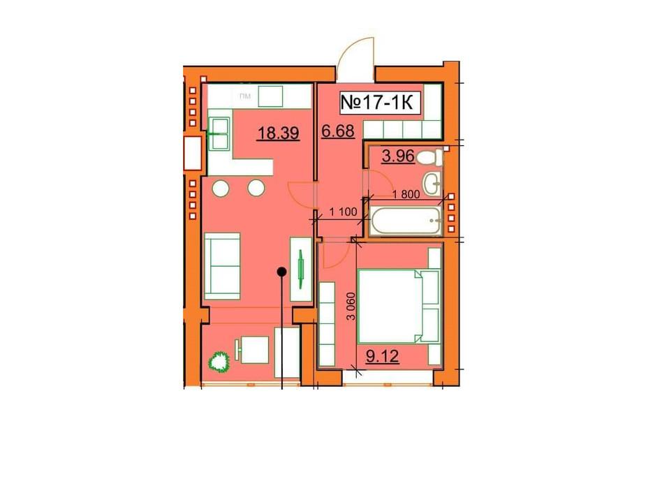 Планировка 1-комнатной квартиры в ЖК Гостомельские Липки 5 38.15 м², фото 243849