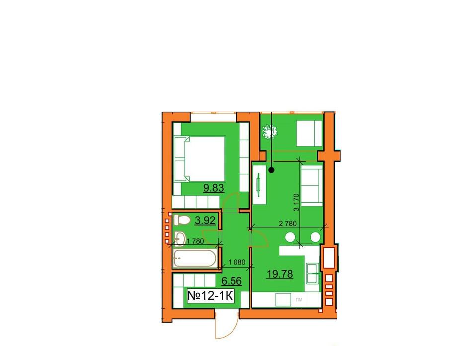 Планировка 1-комнатной квартиры в ЖК Гостомельские Липки 5 40.09 м², фото 243854