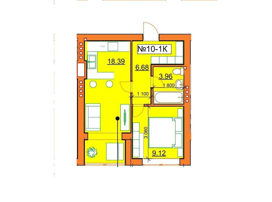 Планировка 1-комнатной квартиры в ЖК Гостомельские Липки 5 38.15 м², фото 243855