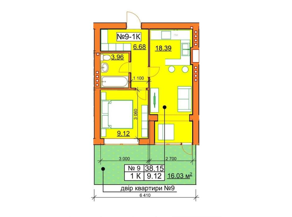Планировка 1-комнатной квартиры в ЖК Гостомельские Липки 5 38.15 м², фото 243861