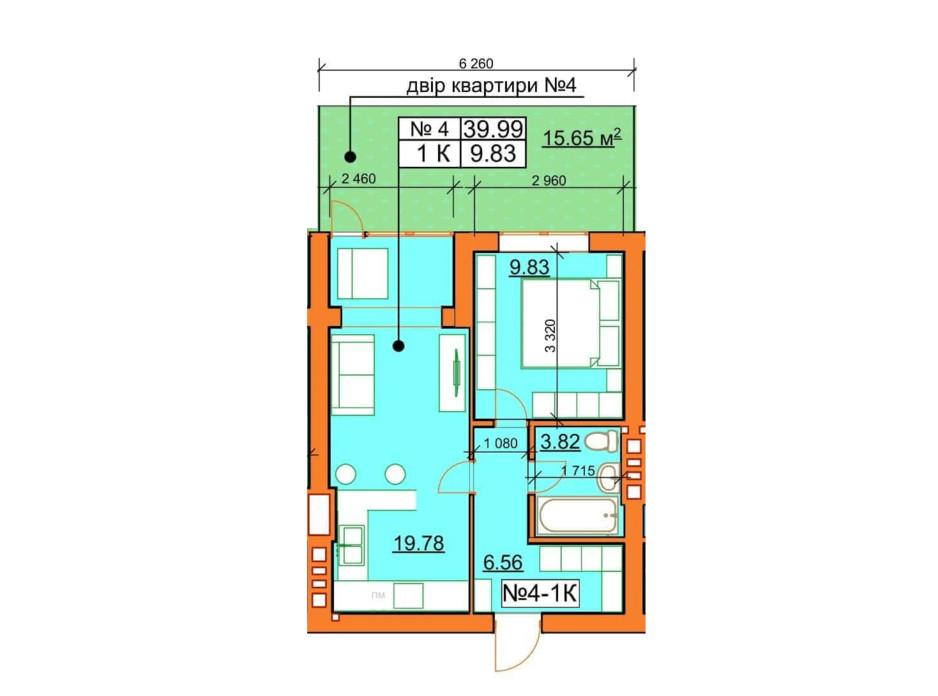 Планировка 1-комнатной квартиры в ЖК Гостомельские Липки 5 39.99 м², фото 243866