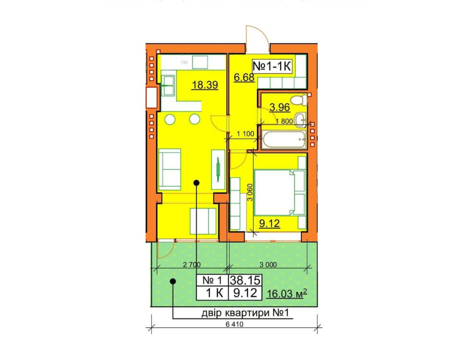 Планировка 1-комнатной квартиры в ЖК Гостомельские Липки 5 38.15 м², фото 243867