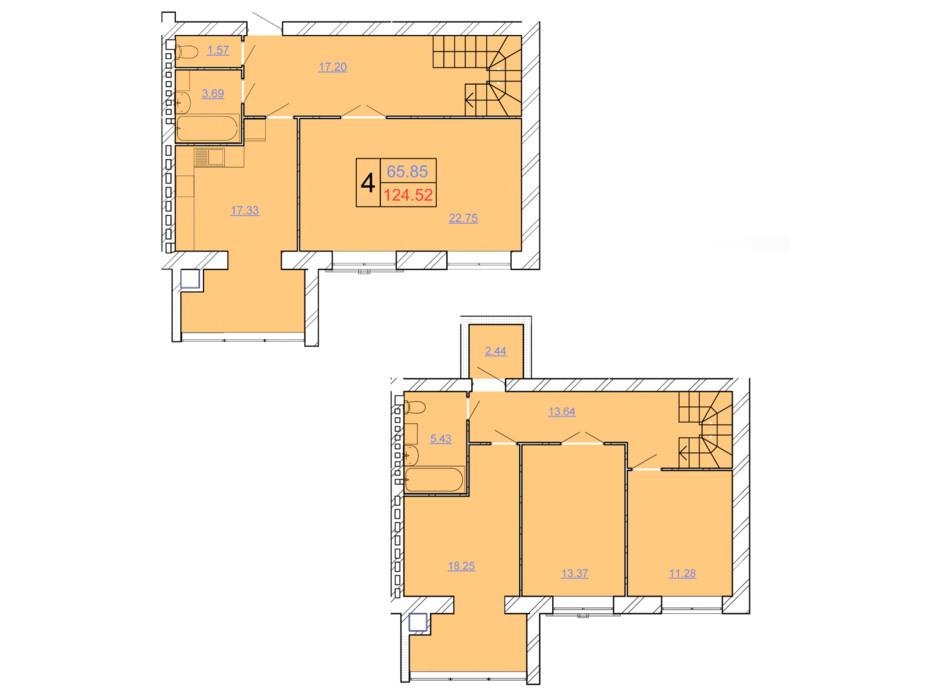Планировка многоуровневой квартиры в ЖК Avila Lux ll 124.52 м², фото 243985