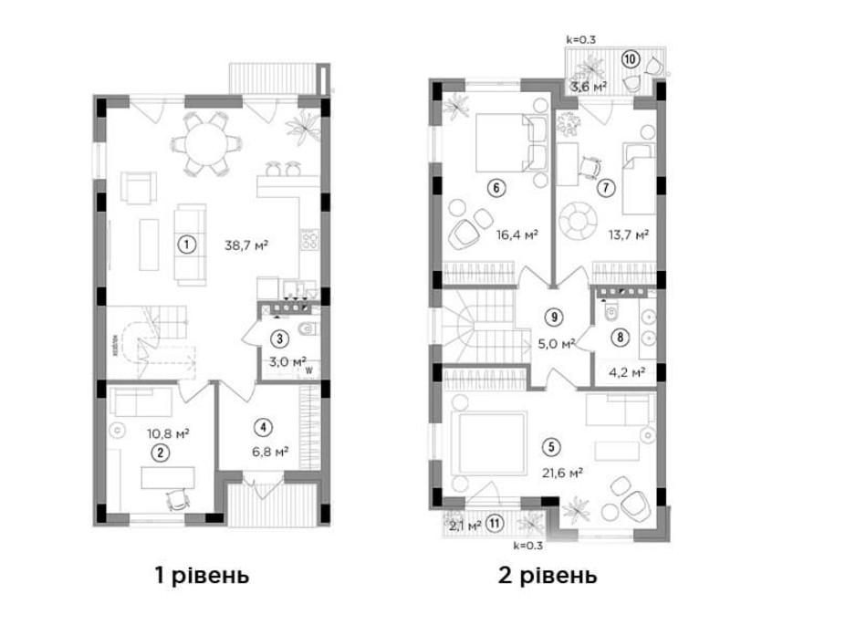 Планировка 3-комнатной квартиры в Таунхаус Eastville 121.9 м², фото 244012