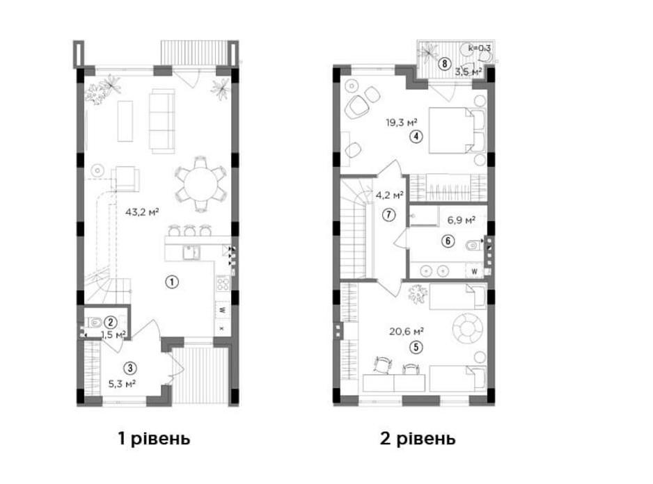 Планировка 1-комнатной квартиры в Таунхаус Eastville 102.05 м², фото 244013